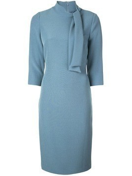 Badgley Mischka Tie-neck fitted midi dress - Blue