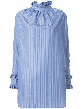 Blindness frill trim blouse - Blue