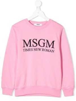 Msgm Kids logo embroidered sweatshirt - Pink