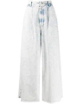 Mm6 Maison Margiela wide-leg acid-wash jeans - White