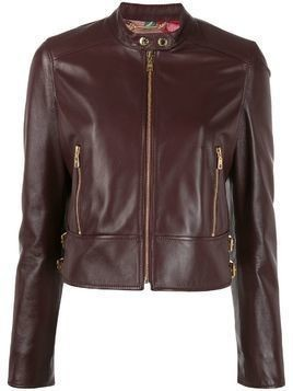 Dolce & Gabbana cropped leather biker jacket - Red