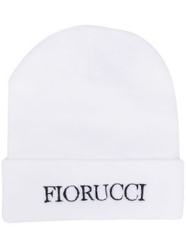 Fiorucci embroidered logo beanie hat - White