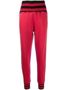 Frankie Morello ribbed knit striped track pants - Red