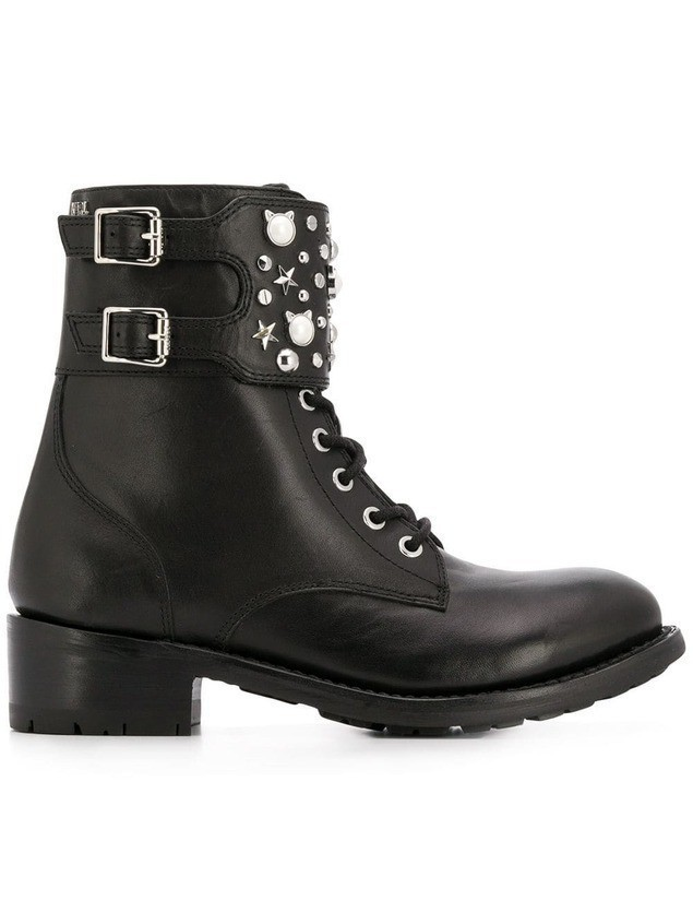 Karl Lagerfeld logo studded ankle boots - Black