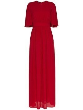 Giambattista Valli crew neck frill silk maxi dress - Red