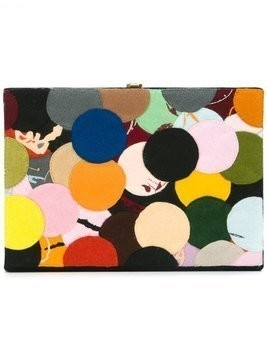 Olympia Le-Tan dotted felt patch book clutch - Multicolour