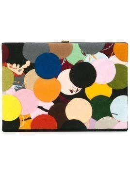 Olympia Le-Tan - dotted felt patch book clutch - Damen - Cotton/Brass - One Size - Multicolour