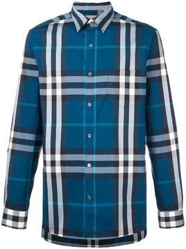 Burberry plaid button down shirt - Blue