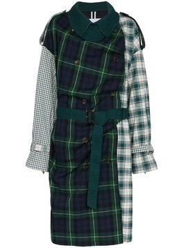 PushBUTTON Patchwork tartan cotton trench - Green