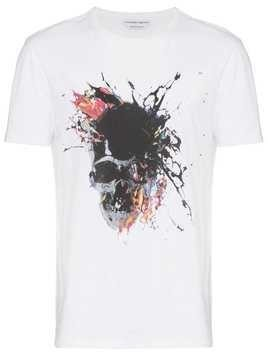 Alexander McQueen Skull Paint print cotton t shirt - White