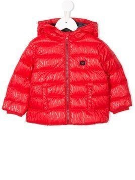 Emporio Armani Kids logo print hooded puffer coat - Red