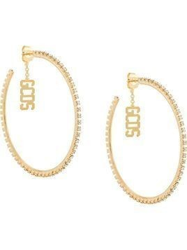 Gcds logo charm hoop earrings - GOLD