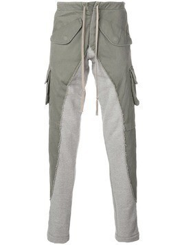 Greg Lauren two tone cargo trousers - Green
