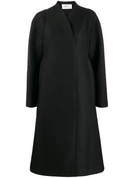 The Row flared wrap-style coat - Black