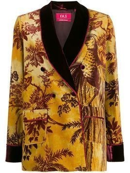 F.R.S For Restless Sleepers foliage patterned textured blazer - Yellow