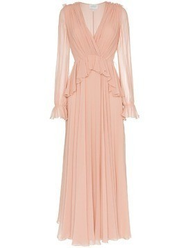 Giambattista Valli v-neck long sleeve silk maxi dress - Pink & Purple