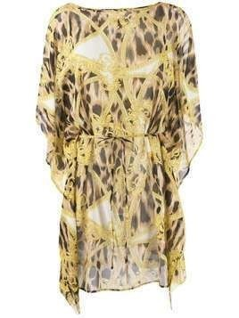 Versace Barocco Animalier print beach dress - Yellow