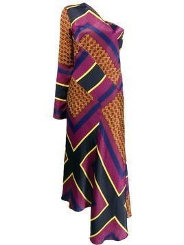 House of Holland printed one-shoulder dress - PURPLE