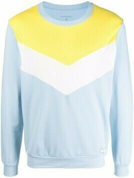 Viktor & Rolf colour-block crew neck sweater - Blue