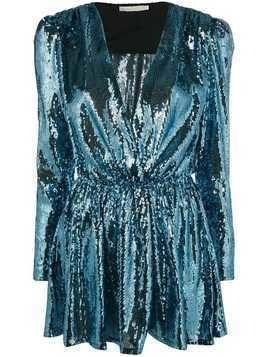 Amen sequinned V-neck mini dress - Blue