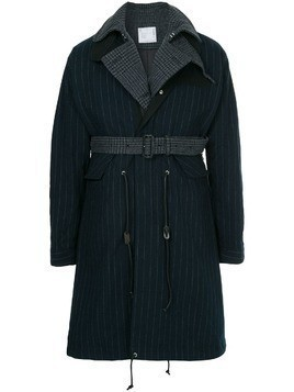 Sacai contrast layer pinstripe raincoat - Blue