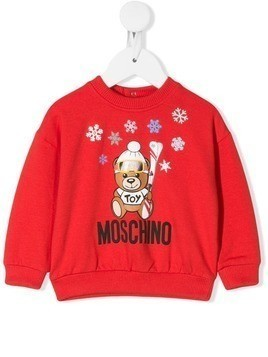 Moschino Kids winter bear logo sweatshirt - Red