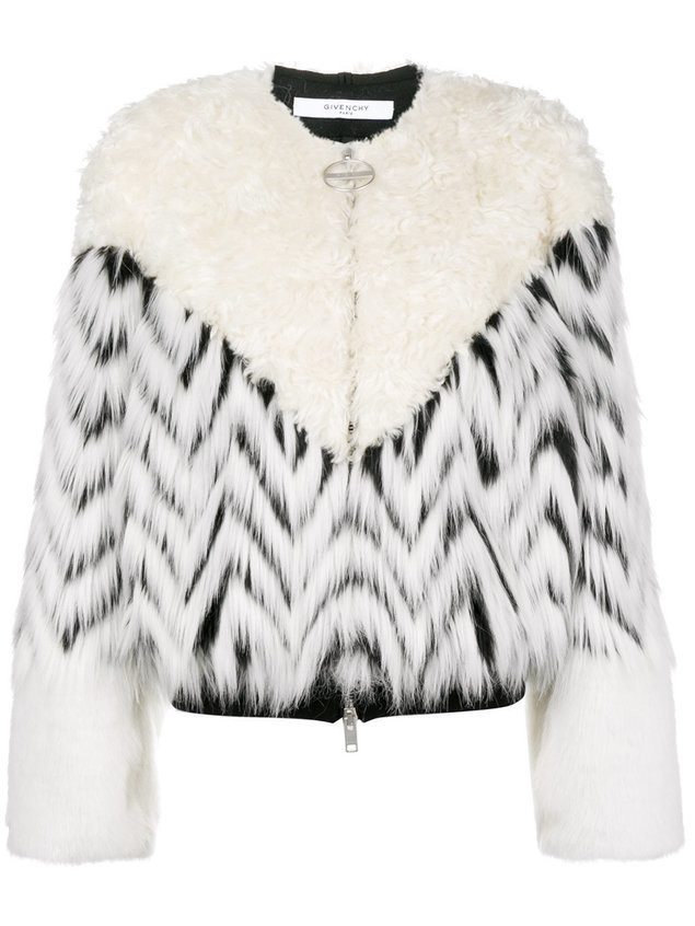 Givenchy faux fur patchwork bomber - White