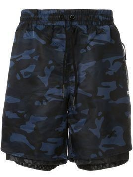 Koral layered camouflage-print track shorts - Blue