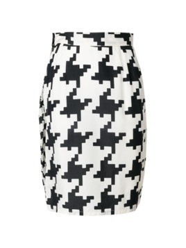 Versace Vintage pixelated houndstooth fitted skirt - White