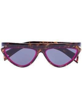 Fendi FF motif cat eye sunglasses - Brown
