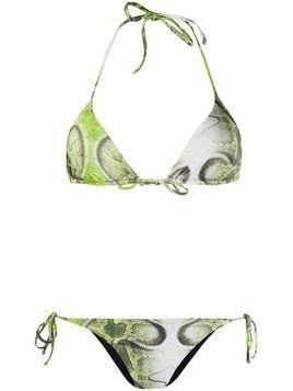 John Richmond halter neck snakeskin print bikini - Green