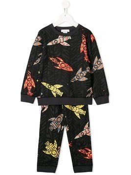 Stella McCartney Kids rocket-print tracksuit set - Black