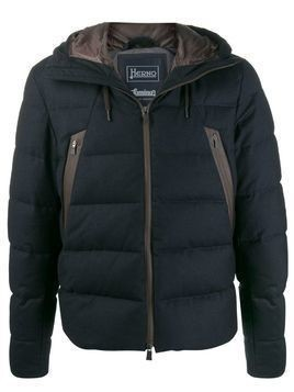 Herno contrast zipped padded jacket - Blue