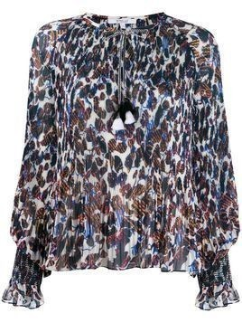 Derek Lam 10 Crosby Helena pleated speckled floral blouse - ECU ECRU