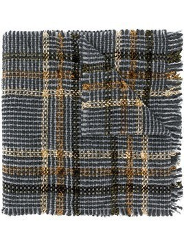 Faliero Sarti check knitted scarf - Grey