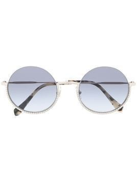 Miu Miu Eyewear crystal detailed round frame sunglasses - SILVER