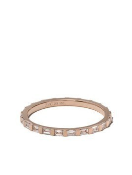 Ef Collection 14kt rose gold diamond baguette eternity stack ring