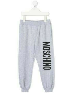 Moschino Kids logo print track pants - Grey
