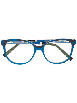 Gold And Wood cat eye glasses - Blue