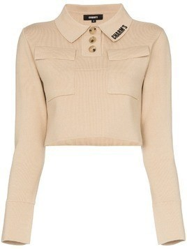 Charm's logo print cropped polo top - Neutrals