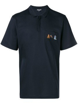 Lanvin embroidered pocket polo shirt - Blue