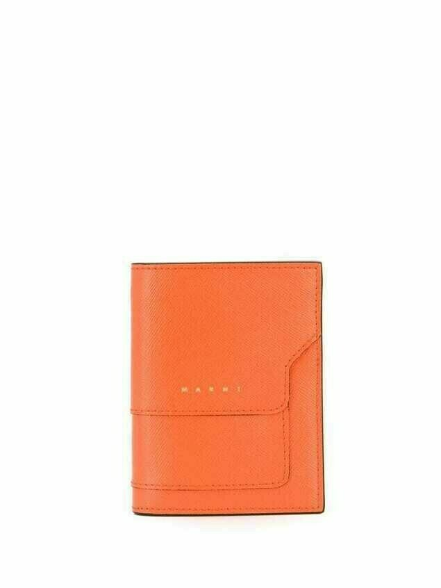 Marni logo lettering wallet - ORANGE