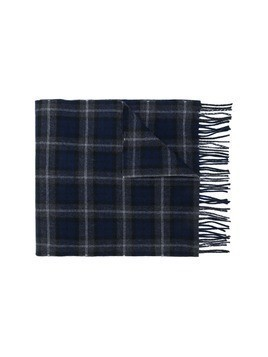 Lanvin tassel-trimmed checked scarf - Blue