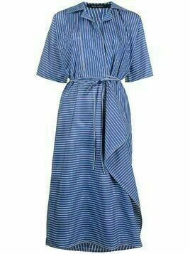 Sofie D'hoore pinstripe wrapped shirtdress - Blue