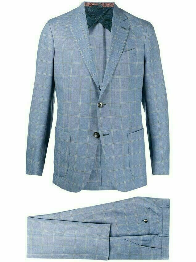 Etro check tailored wool suit - Blue