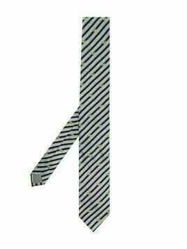 Emporio Armani Kids striped silk tie - Grey