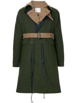 Sacai contrast layer raincoat - Green