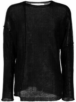Isabel Benenato exposed-seam linen jumper - Black