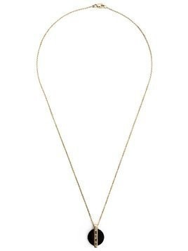Kristin Hanson diamond baguette disc pendant necklace - Black
