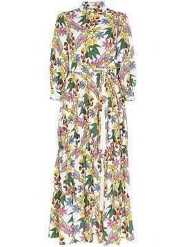 Borgo De Nor floral print maxi shirt dress - White